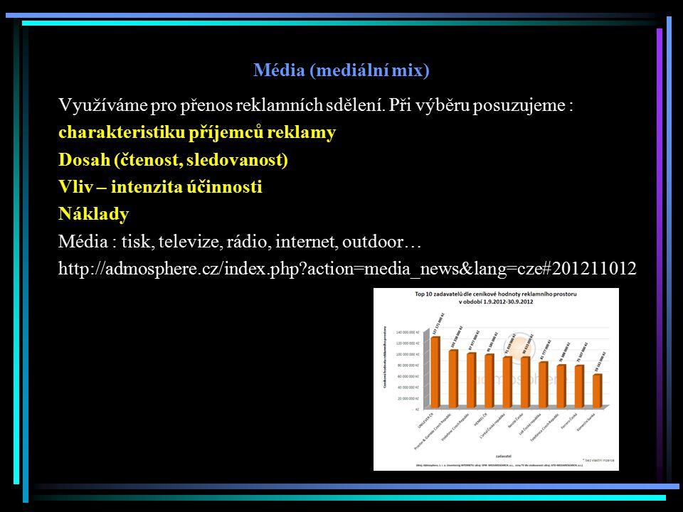 Média (mediální mix) Využíváme pro přenos reklamních sdělení. Při výběru posuzujeme : charakteristiku příjemců reklamy.