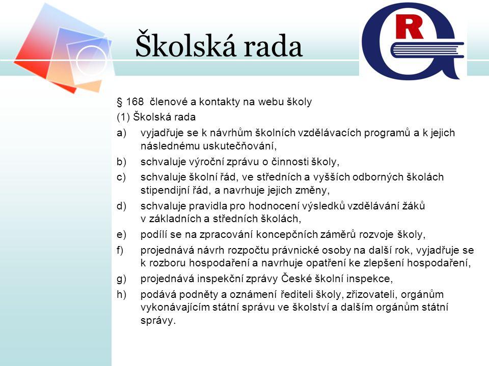Školská rada § 168 členové a kontakty na webu školy (1) Školská rada