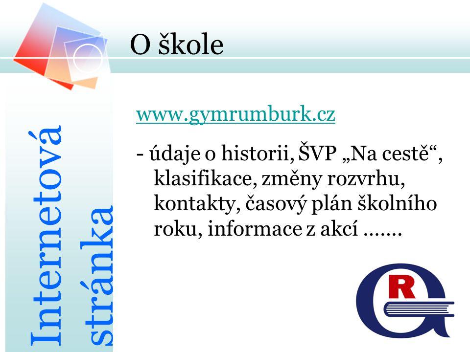 Internetová stránka O škole www.gymrumburk.cz