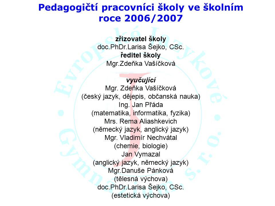 Pedagogičtí pracovníci školy ve školním roce 2006/2007