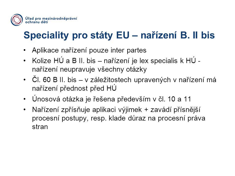 Speciality pro státy EU – nařízení B. II bis