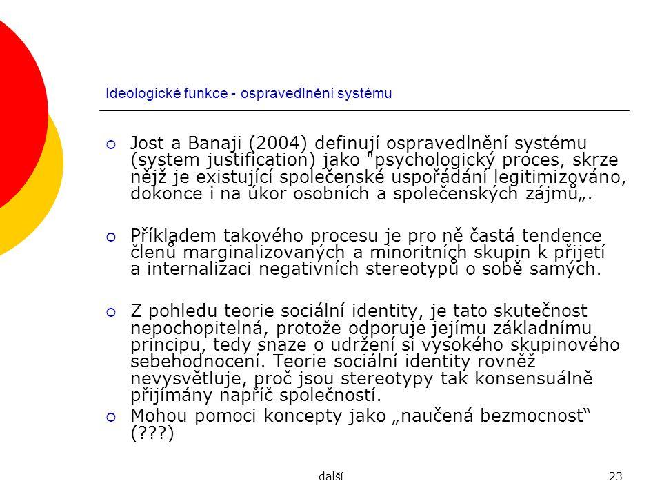 Ideologické funkce - ospravedlnění systému