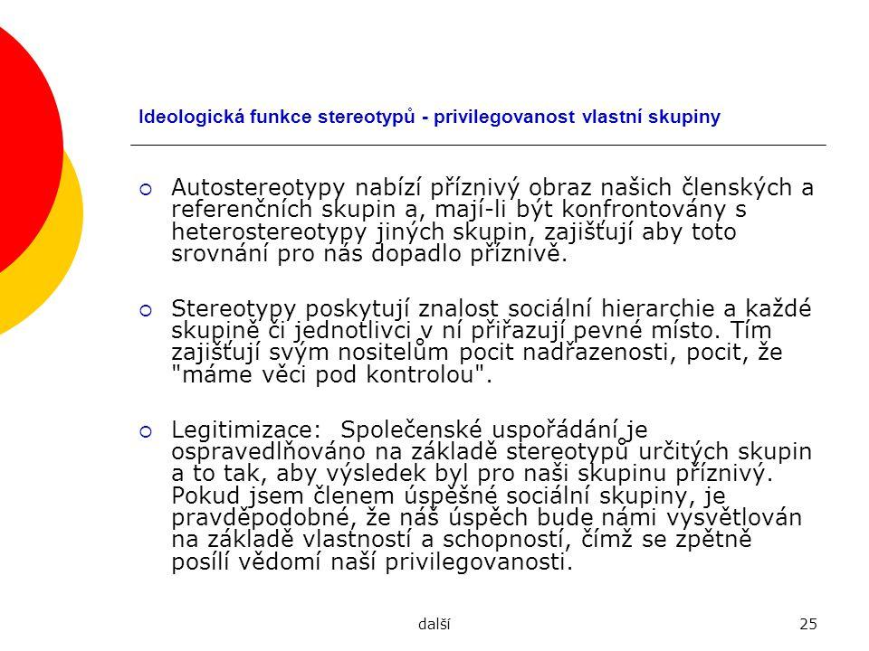 Ideologická funkce stereotypů - privilegovanost vlastní skupiny