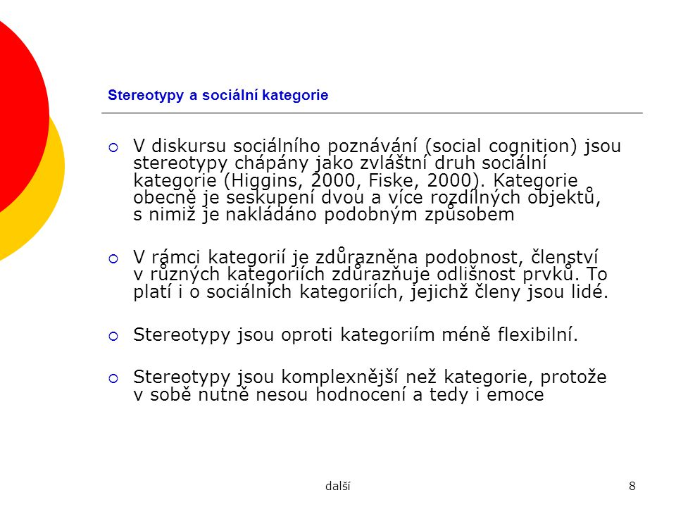 Stereotypy a sociální kategorie
