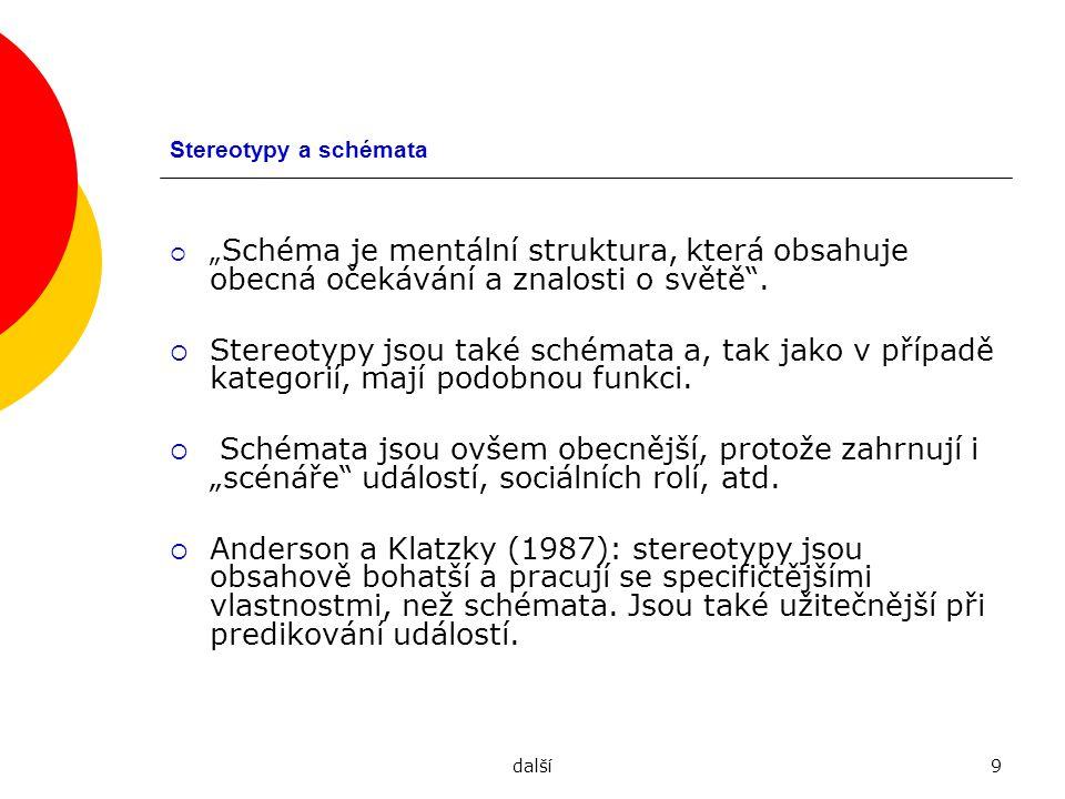 """Stereotypy a schémata """"Schéma je mentální struktura, která obsahuje obecná očekávání a znalosti o světě ."""