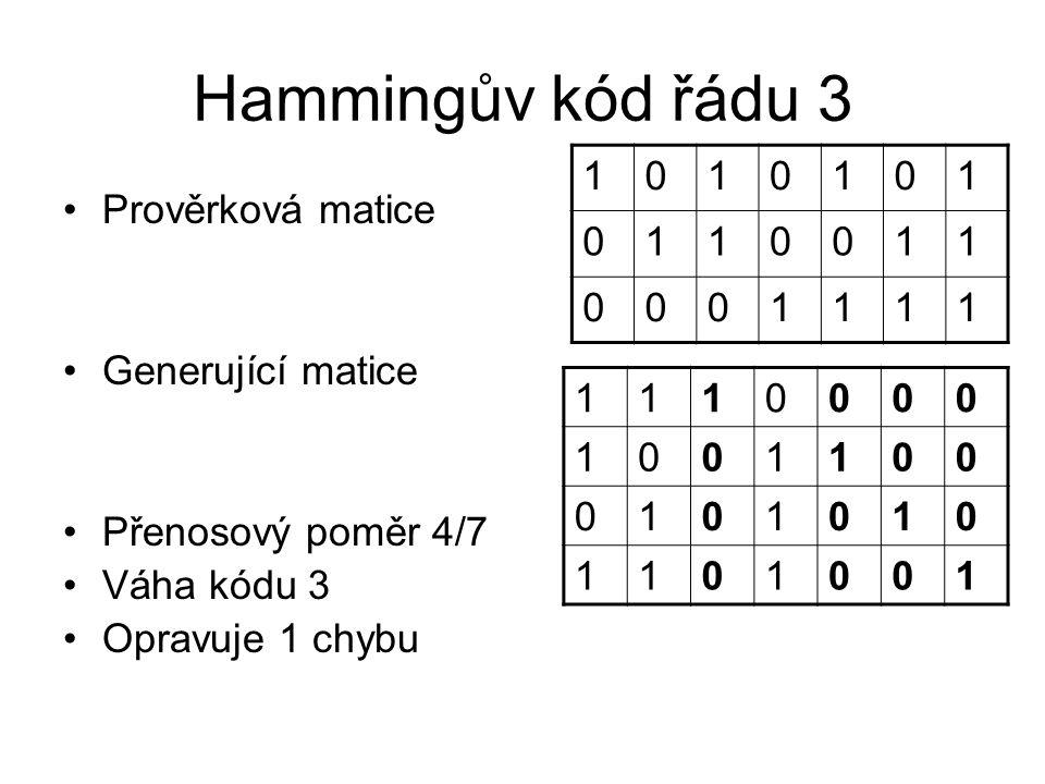 Hammingův kód řádu 3 1 1 Prověrková matice Generující matice