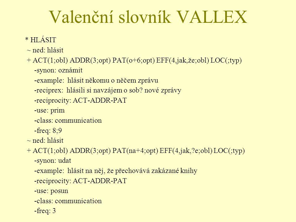 Valenční slovník VALLEX