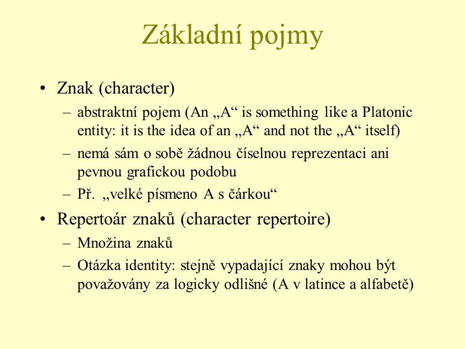 Základní pojmy Znak (character)