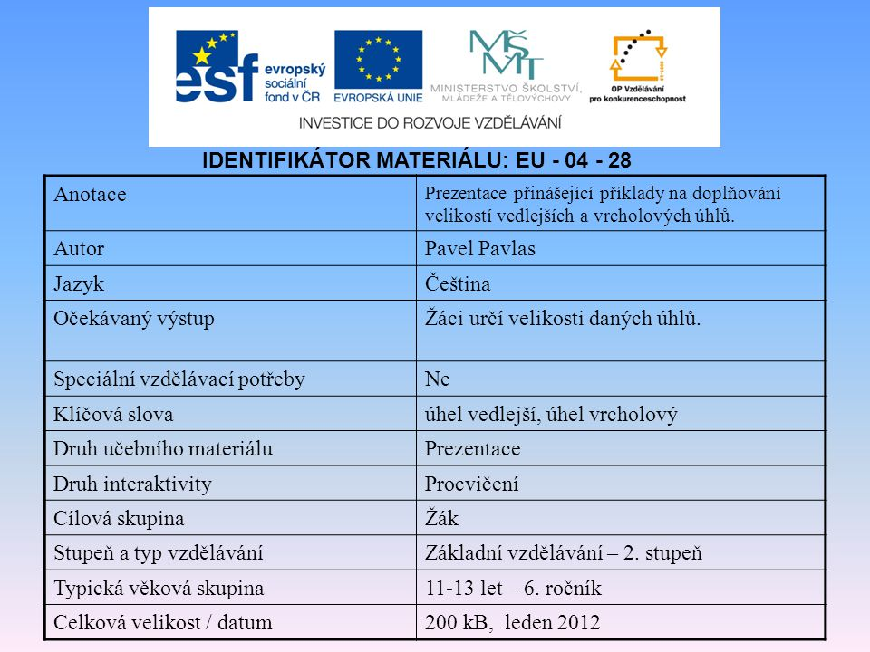 IDENTIFIKÁTOR MATERIÁLU: EU - 04 - 28