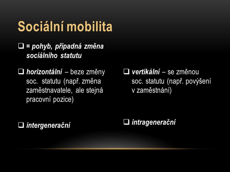 Sociální mobilita = pohyb, případná změna sociálního statutu