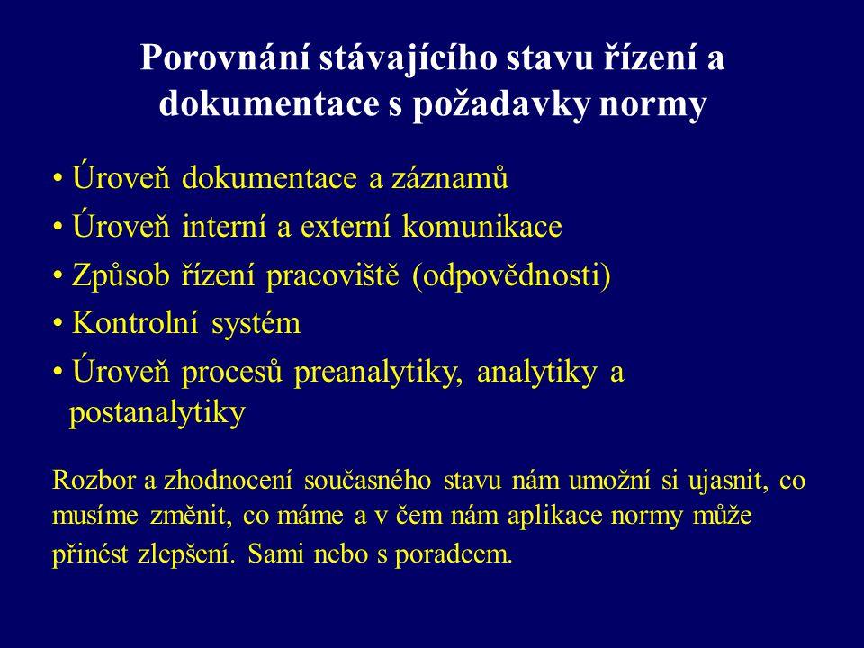Porovnání stávajícího stavu řízení a dokumentace s požadavky normy