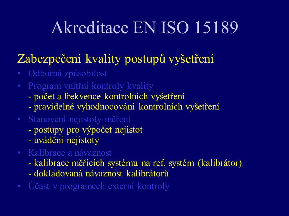 Akreditace EN ISO 15189 Zabezpečení kvality postupů vyšetření