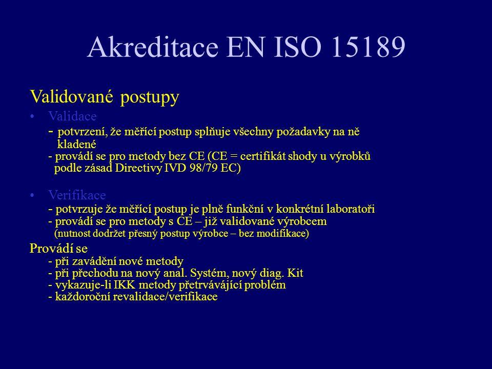 Akreditace EN ISO 15189 Validované postupy