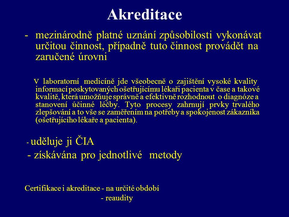Akreditace mezinárodně platné uznání způsobilosti vykonávat určitou činnost, případně tuto činnost provádět na zaručené úrovni.