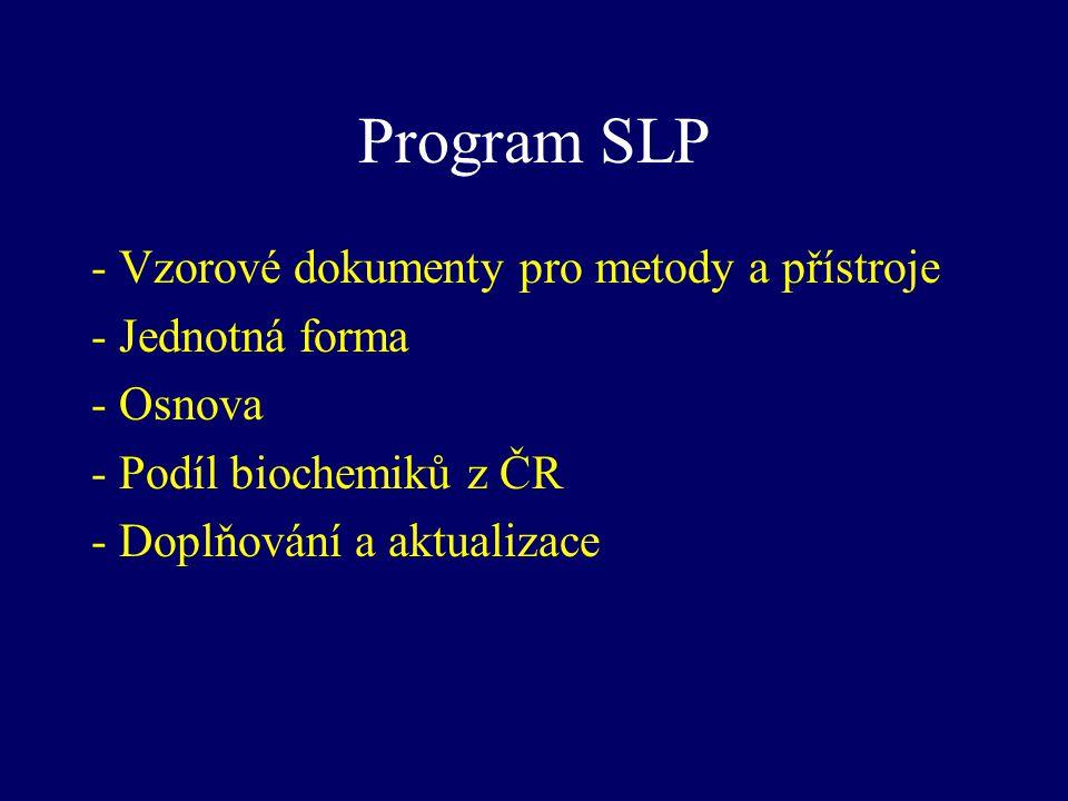 Program SLP - Vzorové dokumenty pro metody a přístroje