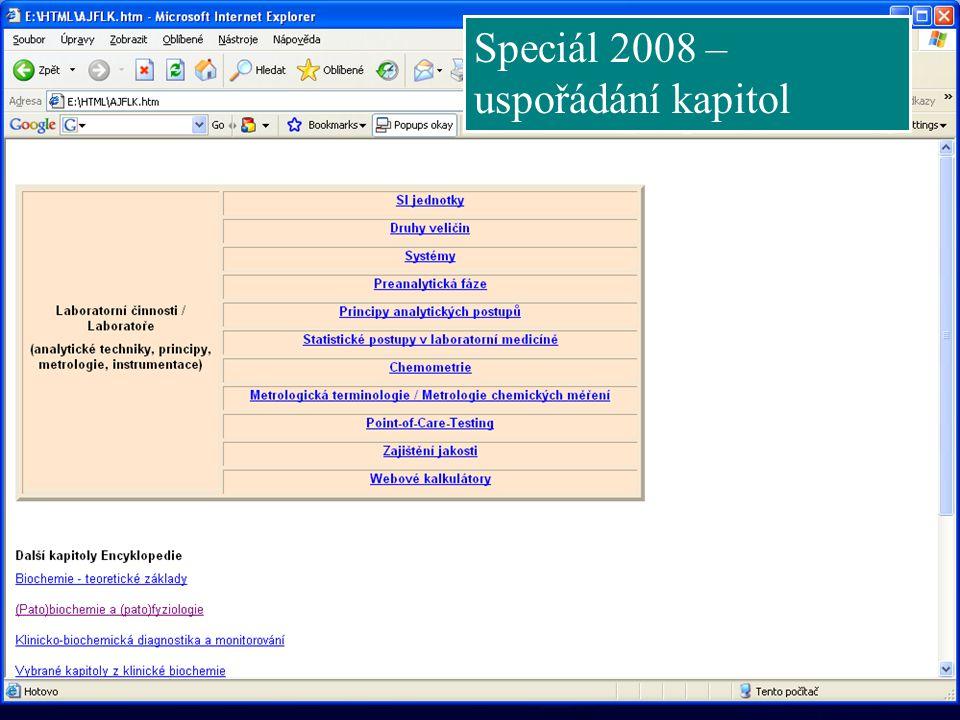 Speciál 2008 – uspořádání kapitol