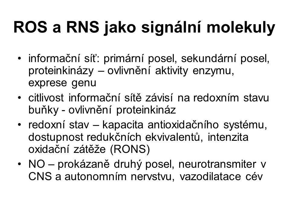ROS a RNS jako signální molekuly