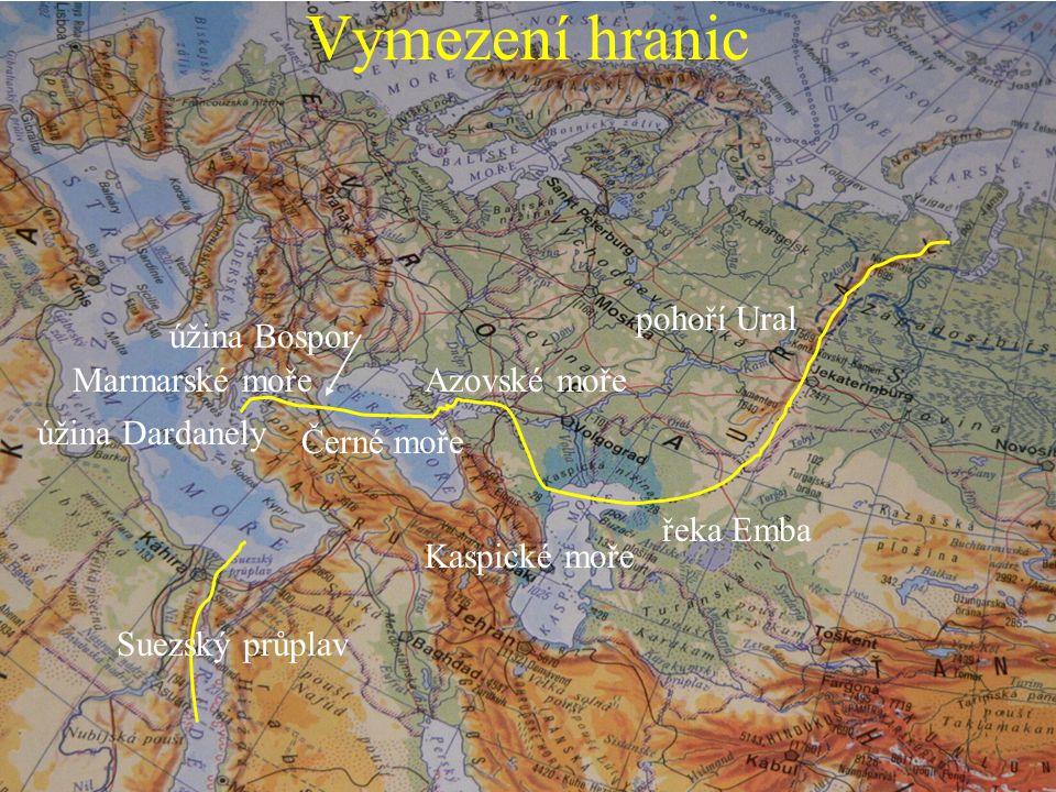 Vymezení hranic pohoří Ural úžina Bospor Marmarské moře Azovské moře