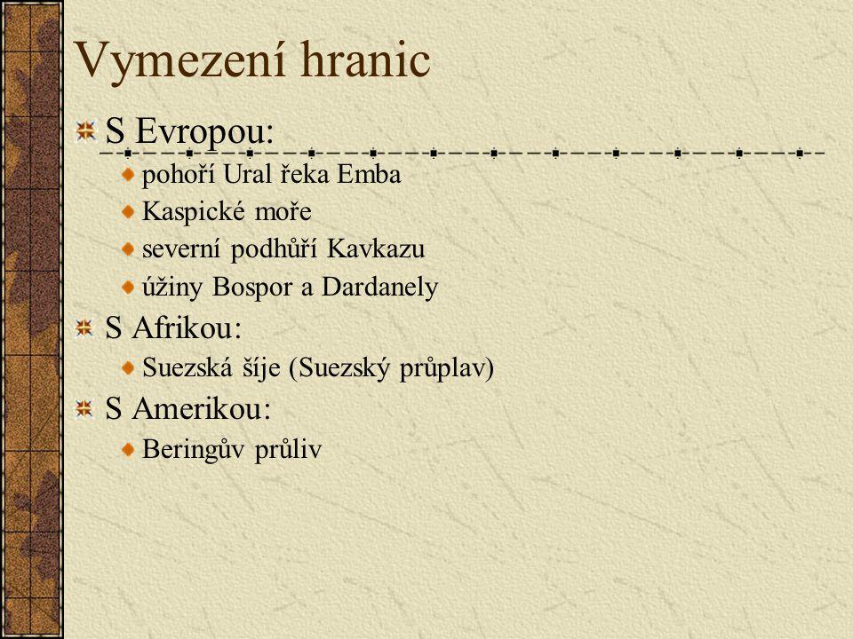 Vymezení hranic S Evropou: S Afrikou: S Amerikou: