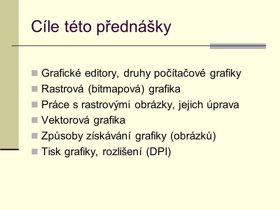 Cíle této přednášky Grafické editory, druhy počítačové grafiky