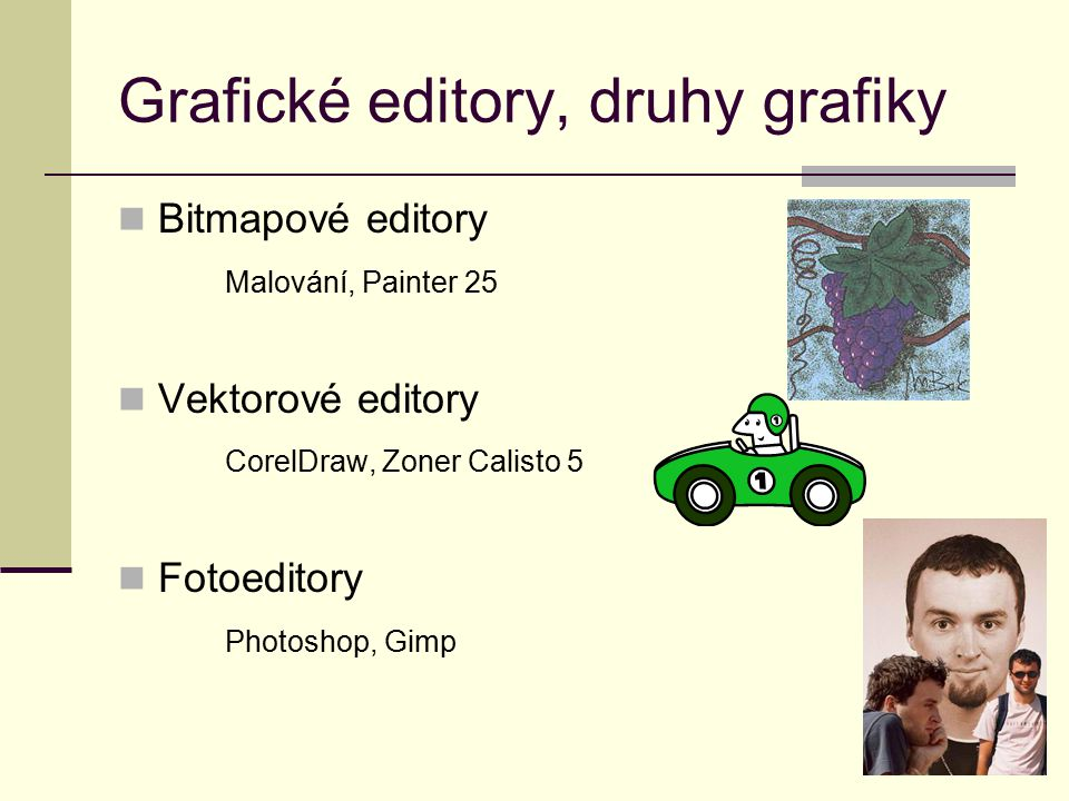 Grafické editory, druhy grafiky