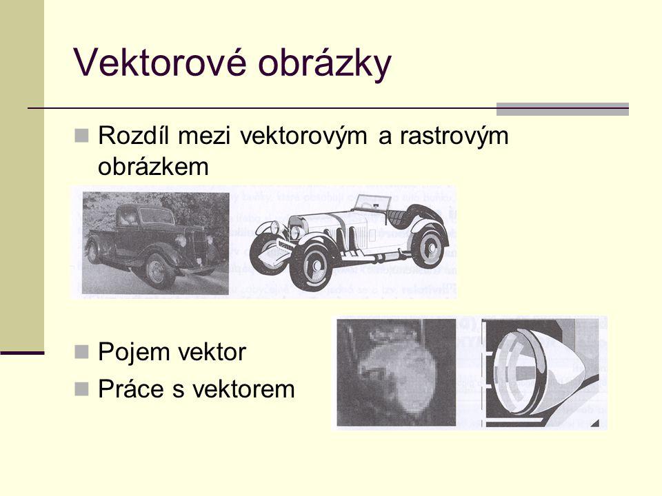 Vektorové obrázky Rozdíl mezi vektorovým a rastrovým obrázkem