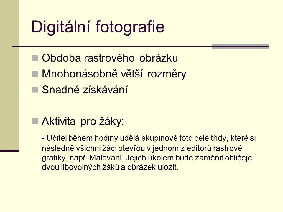 Digitální fotografie Obdoba rastrového obrázku