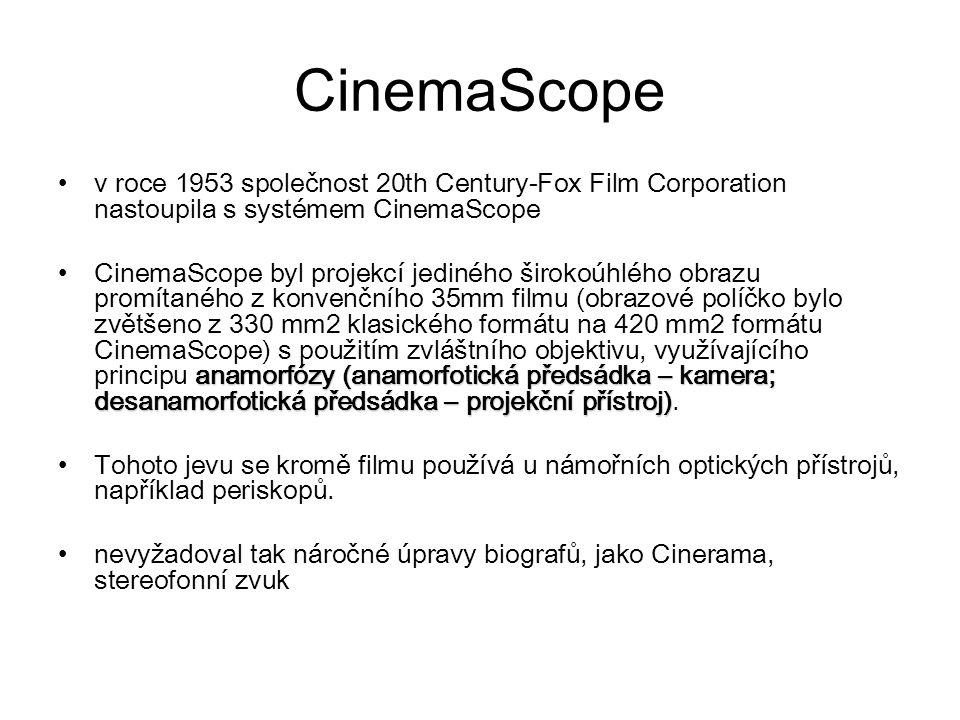 CinemaScope v roce 1953 společnost 20th Century-Fox Film Corporation nastoupila s systémem CinemaScope.