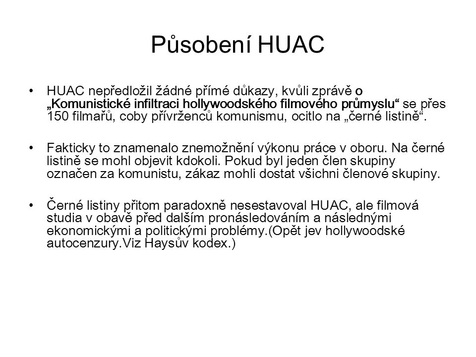 Působení HUAC