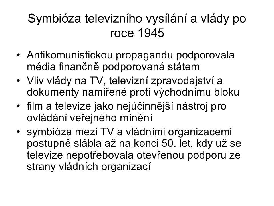 Symbióza televizního vysílání a vlády po roce 1945