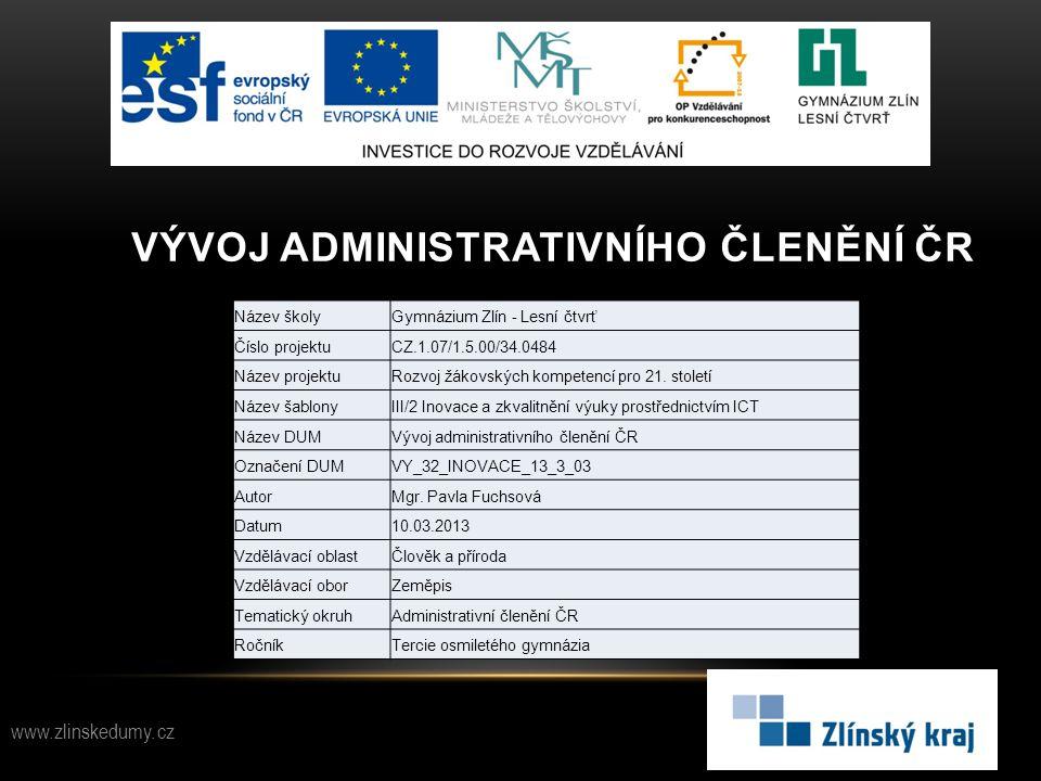 Vývoj administrativního členění čr