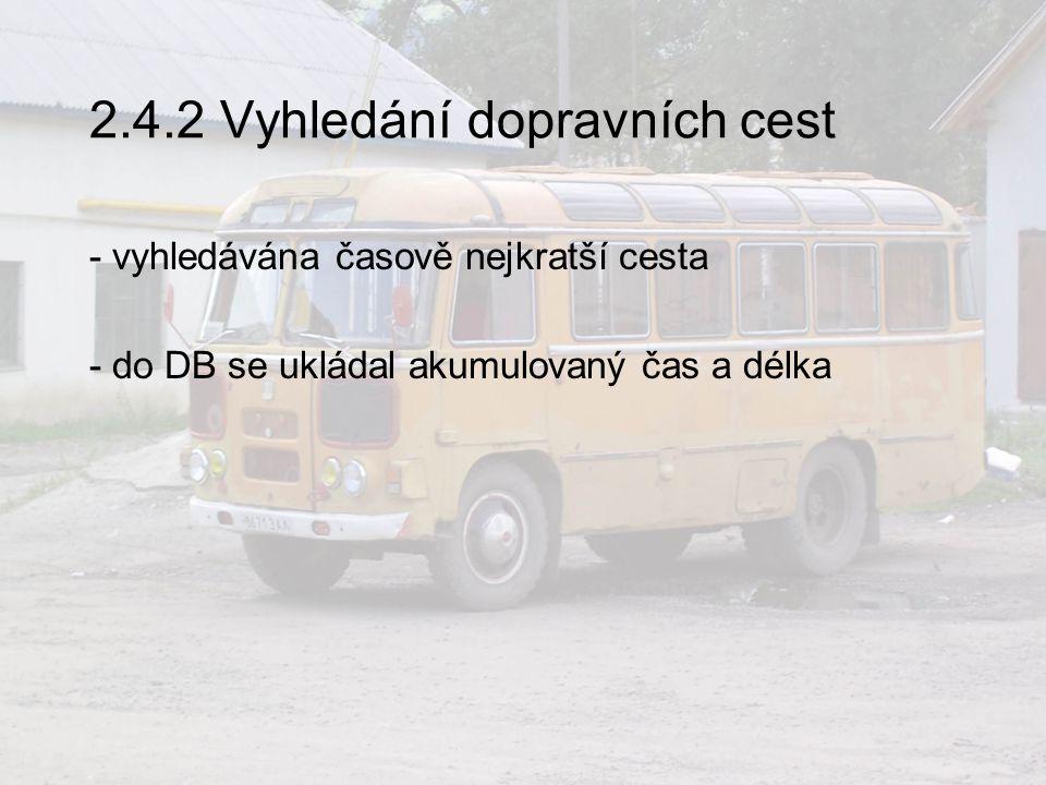 2.4.2 Vyhledání dopravních cest