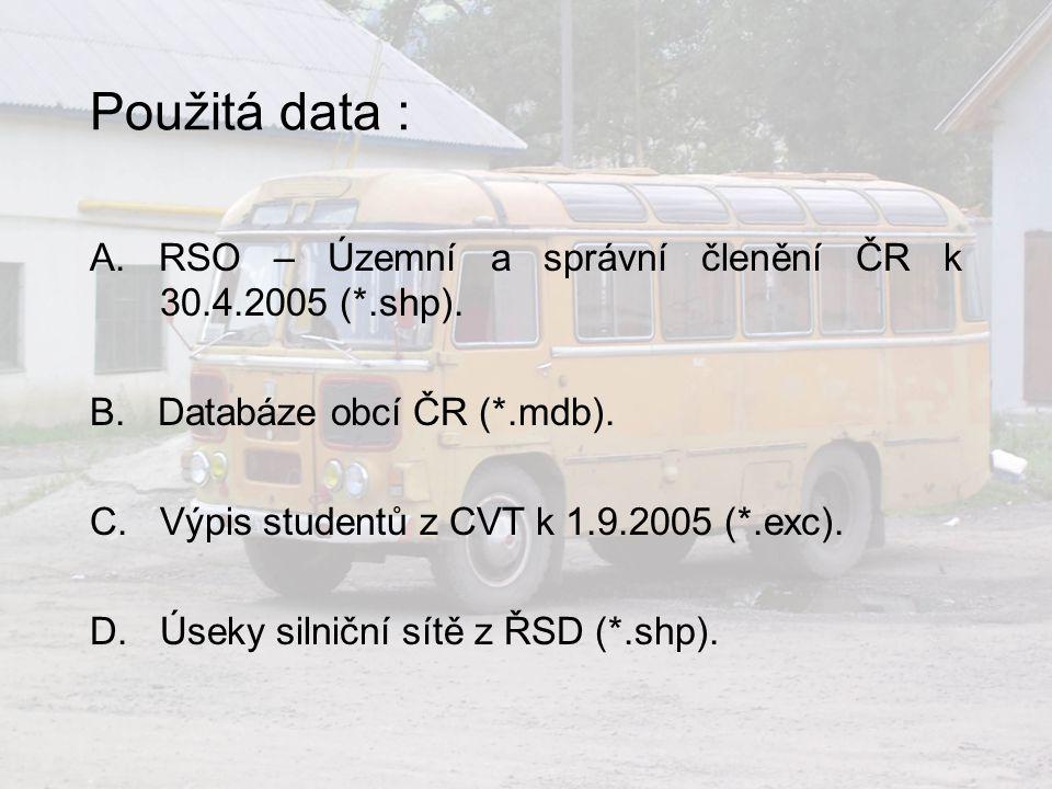 Použitá data : A. RSO – Územní a správní členění ČR k 30.4.2005 (*.shp). B. Databáze obcí ČR (*.mdb).