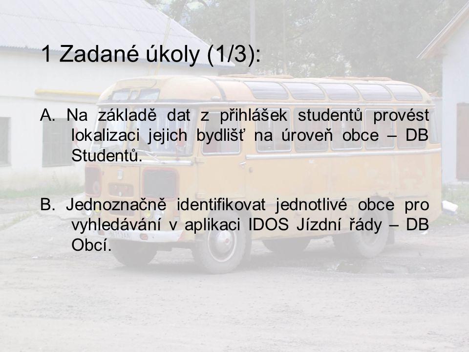 1 Zadané úkoly (1/3): A. Na základě dat z přihlášek studentů provést lokalizaci jejich bydlišť na úroveň obce – DB Studentů.