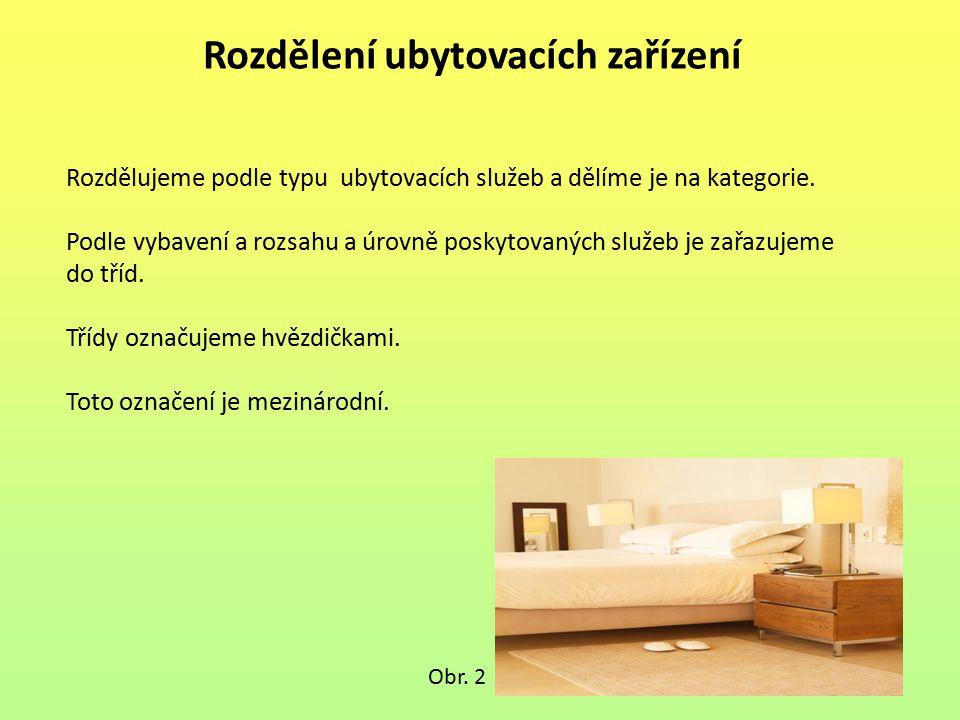 Rozdělení ubytovacích zařízení