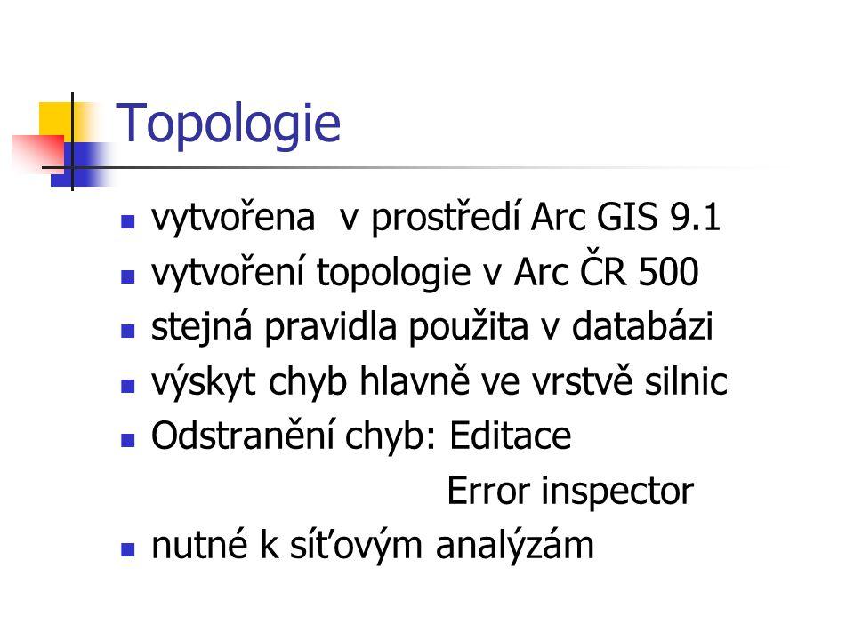 Topologie vytvořena v prostředí Arc GIS 9.1
