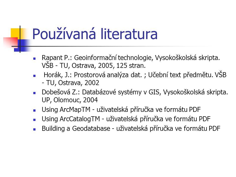 Používaná literatura Rapant P.: Geoinformační technologie, Vysokoškolská skripta. VŠB - TU, Ostrava, 2005, 125 stran.