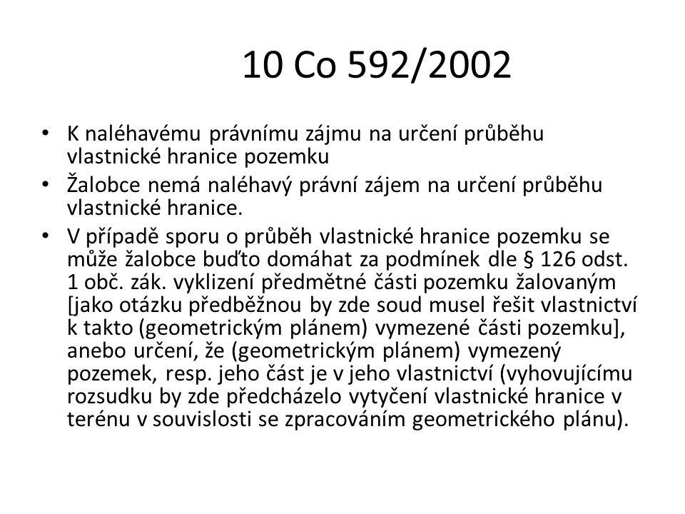 10 Co 592/2002 K naléhavému právnímu zájmu na určení průběhu vlastnické hranice pozemku.
