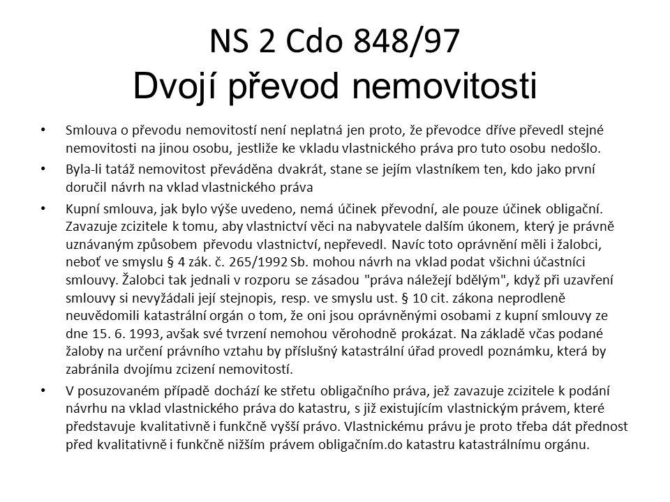 NS 2 Cdo 848/97 Dvojí převod nemovitosti