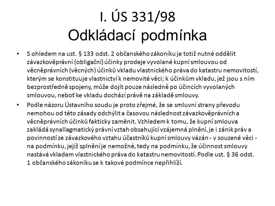 I. ÚS 331/98 Odkládací podmínka