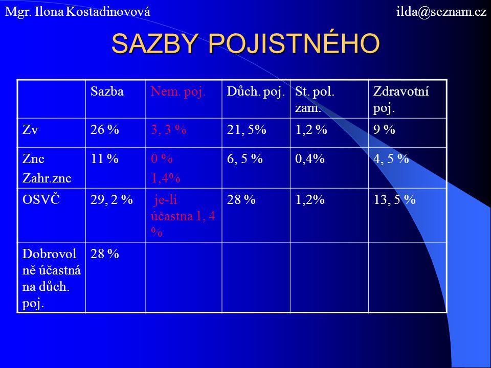 SAZBY POJISTNÉHO Mgr. Ilona Kostadinovová ilda@seznam.cz Sazba
