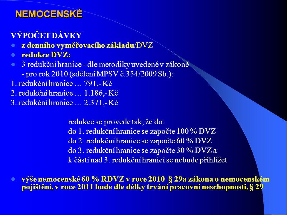 NEMOCENSKÉ VÝPOČET DÁVKY z denního vyměřovacího základu/DVZ