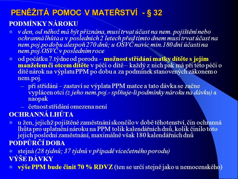 PENĚŽITÁ POMOC V MATEŘSTVÍ - § 32