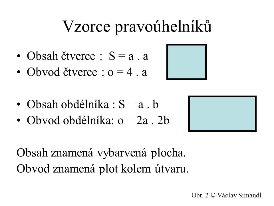 Vzorce pravoúhelníků Obsah čtverce : S = a . a