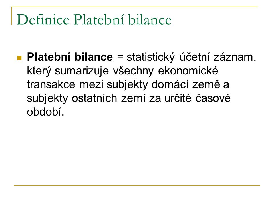 Definice Platební bilance