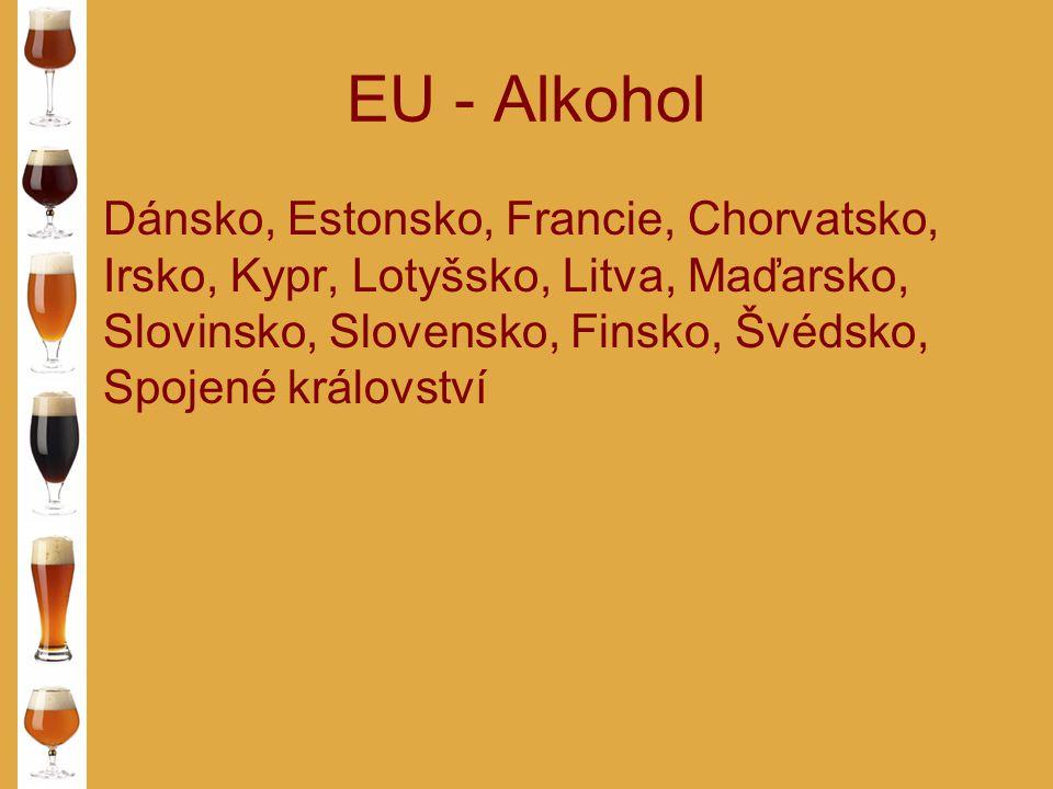 EU - Alkohol Dánsko, Estonsko, Francie, Chorvatsko, Irsko, Kypr, Lotyšsko, Litva, Maďarsko, Slovinsko, Slovensko, Finsko, Švédsko, Spojené království.