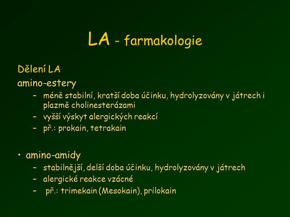 LA - farmakologie Dělení LA amino-estery amino-amidy