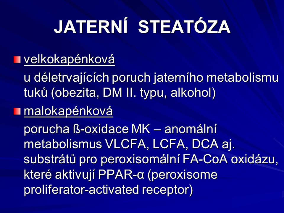 JATERNÍ STEATÓZA velkokapénková