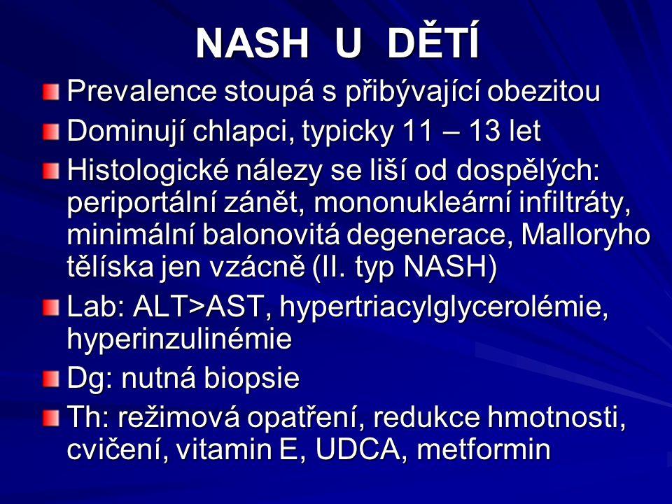 NASH U DĚTÍ Prevalence stoupá s přibývající obezitou