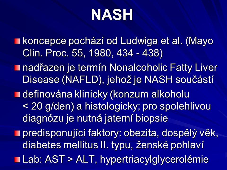 NASH koncepce pochází od Ludwiga et al. (Mayo Clin. Proc. 55, 1980, 434 - 438)